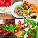 Healthy Vegetarian vegan food collage. Nested on white frame Royalty Free Stock Photography