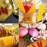 Healthy Vegetarian vegan food collage. Nested on white frame Royalty Free Stock Photos