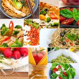 Healthy Vegetarian vegan food collage. Nested on white frame Stock Photo