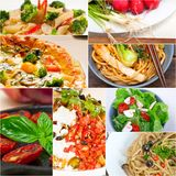 Healthy Vegetarian vegan food collage. Nested on white frame Stock Image