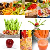 Healthy Vegetarian vegan food collage. Nested on white frame Stock Photos