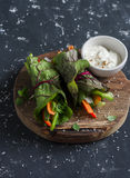 Healthy vegetarian vegetables rolls and yoghurt sauce on a wooden cutting board Stock Image