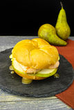 Healthy Vegetarian Veggie Sandwich with French soft cheese, pea. R and honing on black stone plate stock images