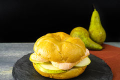 Healthy Vegetarian Veggie Sandwich with French soft cheese, pea. R and honing on black stone plate stock photos