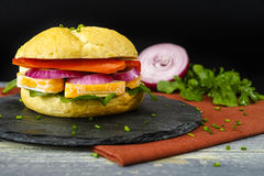 Healthy Vegetarian Veggie Sandwich with  French soft cheese, roc Royalty Free Stock Photos