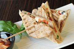 Healthy veggie panini sandwiches Stock Image