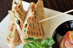 Healthy veggie panini sandwiches Royalty Free Stock Image