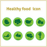 Healthy veggies food green vector icons Royalty Free Stock Photo