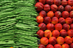 Healthy veggies and fruits in Barcelona market Royalty Free Stock Photos