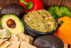 Healthy Vegtables and  guacamole Stock Photo