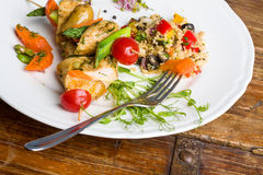 Healthy version of skewer. Healthy version of skewers with vegetables and chicken Royalty Free Stock Photography