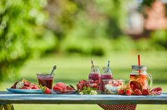 Healthy, vibrant summer berry desserts picnic. Fresh, healthy, vibrant summer berry smoothie bowl, juices and desserts picnic on a bright outdoor table setting stock image