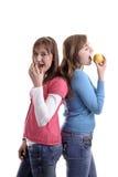 Healthy vs junk food Stock Photos