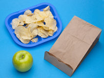 Healthy vs Junk Food School Lunch Royalty Free Stock Photos