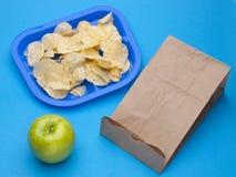 Healthy vs Junk Food School Lunch Royalty Free Stock Photos