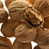 Healthy walnuts. Closeup of walnuts on white background Stock Images