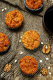 Healthy walnuts dried apricots carrot oats muffins Royalty Free Stock Images