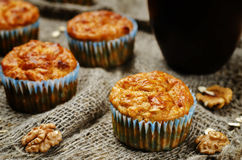 Healthy walnuts dried apricots carrot oats muffins Stock Images