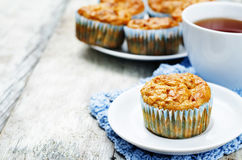 Healthy walnuts dried apricots carrot oats muffins Stock Image