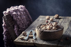 Healthy walnuts and hazelnuts with with old nutcracker Royalty Free Stock Photography