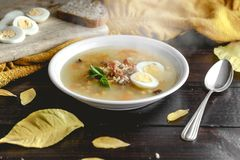 Healthy and warming winter soup with rice, carrot, chickpeas, chicken, ham and boiled egg over rustic wooden table background. Spanish soup Puchero Andaluz Stock Images