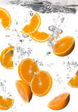 Healthy Water with Fresh Oranges. Drops. Healthy Water with Orange. Drops Royalty Free Stock Image