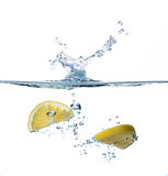 Healthy Water with Lemon. Splashing Stock Images