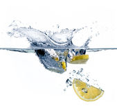 Healthy Water with Lemon. Splashing Royalty Free Stock Photo