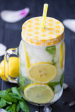 Healthy water with mint, sliced lemons and cucumbers. Diet drink. Sassy water. Mason jar full with sliced fruits and vegetables. Royalty Free Stock Photo