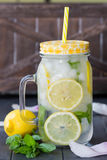 Healthy water with mint, sliced lemons and cucumbers. Diet drink. Sassy water. Mason jar full with sliced fruits and vegetables. Royalty Free Stock Photos