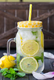 Healthy water with mint, sliced lemons and cucumbers. Diet drink. Sassy water. Mason jar full with sliced fruits and vegetables. Stock Photography