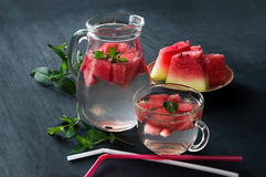 Healthy water with watermelon and mint royalty free stock photo