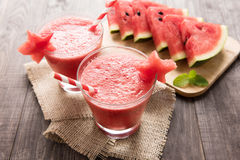 Healthy watermelon smoothie with of watermelon in star shape on Stock Photo