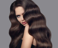 Healthy wavy hair. Brunette girl beauty portrait with long shiny Stock Images