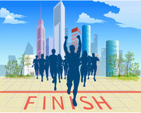 Healthy way of life. In drawing the finish of mass running of athletes is represented Royalty Free Stock Image