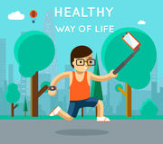 Healthy way of life. Sport monopod selfie in park Royalty Free Stock Images