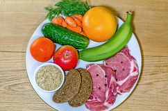 Healthy weight pyramid. Fruit and vegetables, meat, bread and cereals Stock Images
