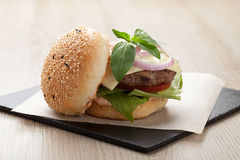Healthy wheat sandwich hamburger with beef steak served for laun Stock Photo