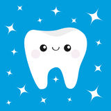 Healthy white tooth icon with happy smiling face and eyes.  Royalty Free Stock Photo