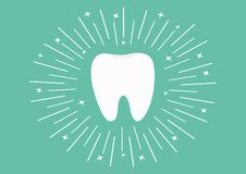 Healthy white tooth icon. Round line circle. Oral dental hygiene. Children teeth care. Shining effect stars. Green background. Fla royalty free illustration