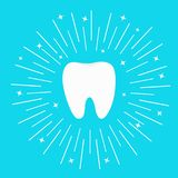 Healthy white tooth icon. Round line circle. Oral dental hygiene. Children teeth care. Shining effect stars. Whitening Blue bright Royalty Free Stock Photography