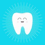 Healthy white tooth icon with smiling face. Cute cartoon character. Dash line round circle. Oral dental hygiene. Children teeth ca. Re. Shining effect stars Stock Images