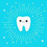 Healthy white tooth icon with smiling face. Cute cartoon character. Round line circle. Oral dental hygiene. Children teeth care. S Royalty Free Stock Images