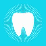 Healthy white tooth round icon. Dash line circle. Oral dental hygiene. Children teeth care. Shining effect. Whitening Blue bright Royalty Free Stock Photo