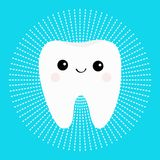 Healthy white tooth round icon with smiling face. Cute cartoon character. Dash line circle. Oral dental hygiene. Children teeth ca. Re. Shining effect stars Stock Photos