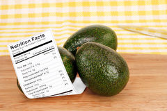 Healthy whole Avocados with Nutrition Label. Two stacked healthy, whole,  fresh avodacos with the nutrition label Royalty Free Stock Photo