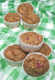 Healthy Whole Wheat Rhubarb Muffins Royalty Free Stock Photography