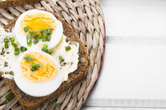 Healthy whole wheat sandwiches with eggs Stock Images