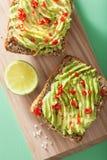 Healthy wholegrain bread with avocado lime chili Stock Photo