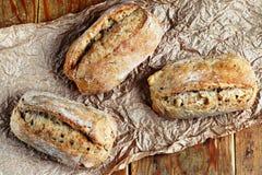 Healthy wholegrain rolls. Close up of healthy wholegrain crispy bread Royalty Free Stock Image